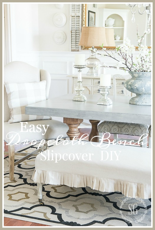 Fantastic Easy Dropcloth Bench Slipcover Stonegable Pdpeps Interior Chair Design Pdpepsorg