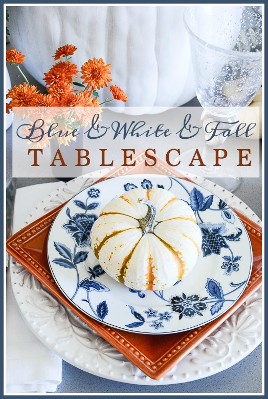 BLUE AND WHITE AND FALL TABLESCAPE