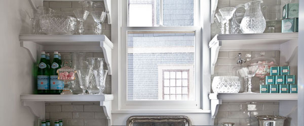 White Open Shelves Stonegable