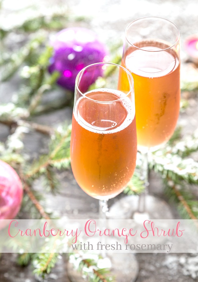 CHRISTMAS CRANBERRY ORANGE SHRUB WITH FRESH ROSEMARY