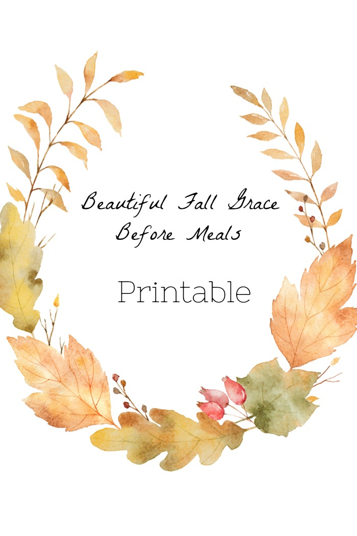 image regarding Autumn Printable referred to as Attractive Tumble GRACE Right before Food items PRINTABLE - StoneGable