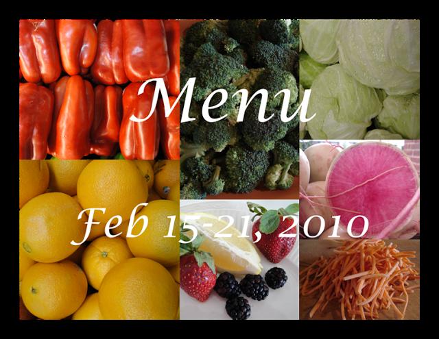 SG Menu Plan Feb 15-21, 2010