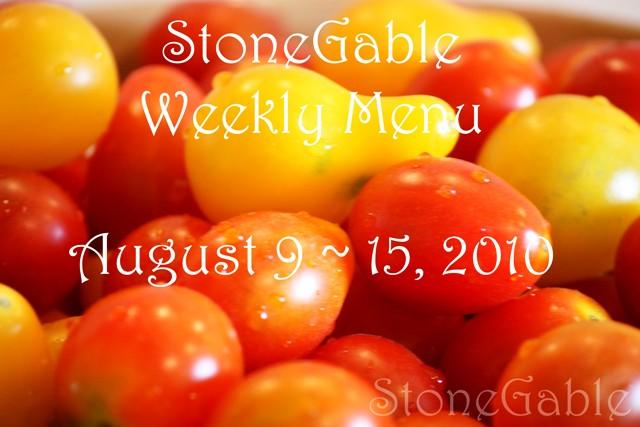 Menu Plan August 9 ~ 15