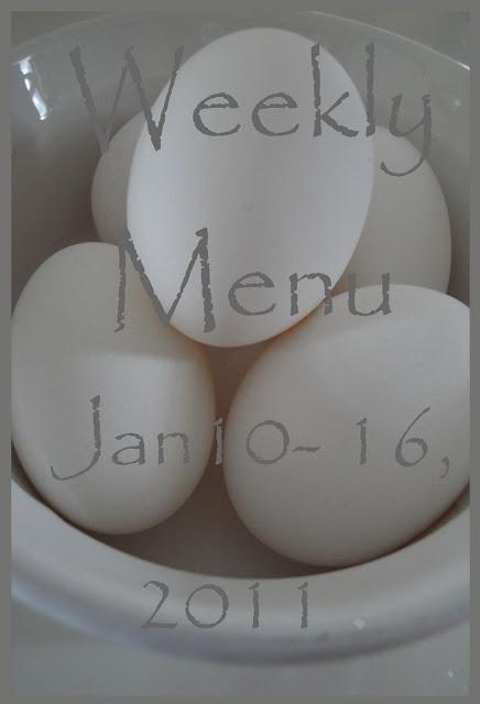 Menu Plan, January 10~ 16, 2011