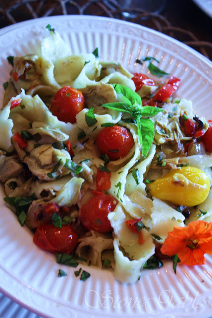 FESTONI WITH ARTICHOKE PESTO AND TOMATOES~ Easy 30 Minute Meal