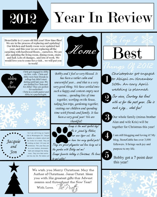A YEAR IN REVIEW CHRISTMAS LETTER AND TEMPLATE