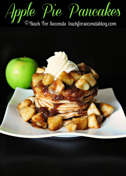Apple Pie Pancakes with Cream Cheese Frosting by http://backforsecondsblog.com  #recipe #breakfast #pancakes #applepie #creamcheese #frosting