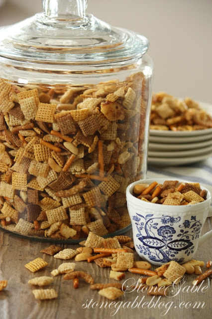 A jar of chex mix