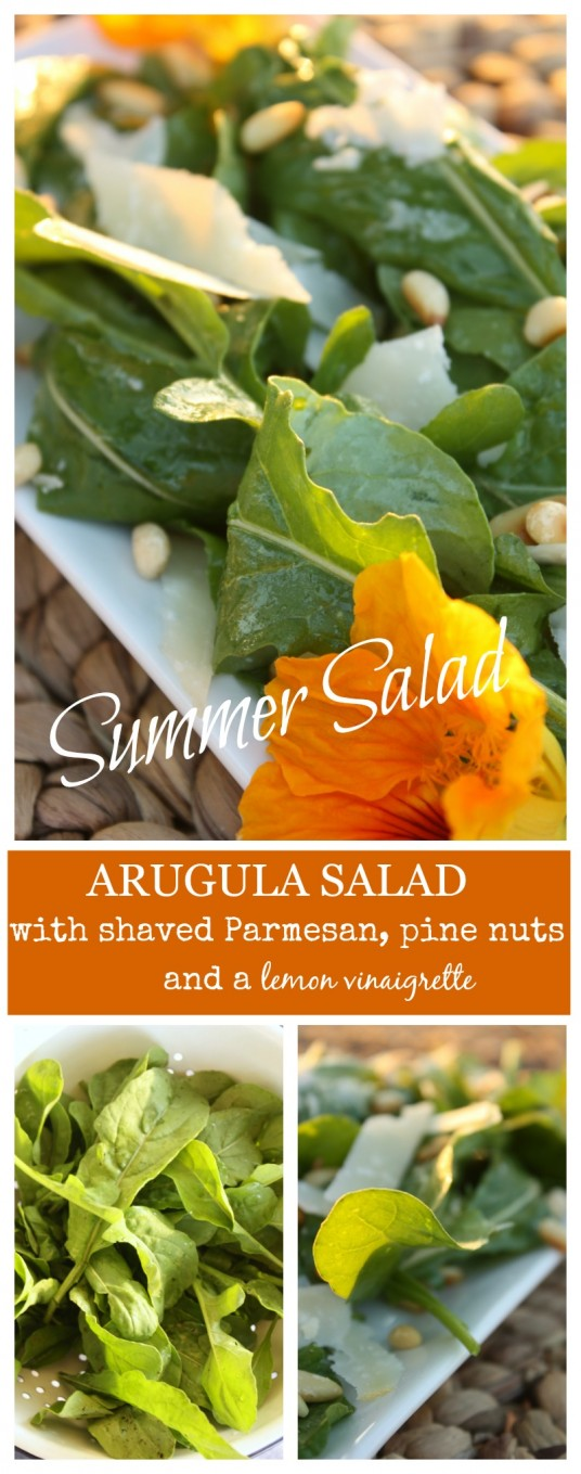 ARUGULA SALAD- Shaved Parmesan cheese, pine nuts and a lemon vinaigrete-stonegableblog.com