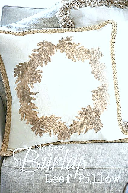 NO SEW BURLAP LEAF WREATH PILLOW-stonegableblog.com