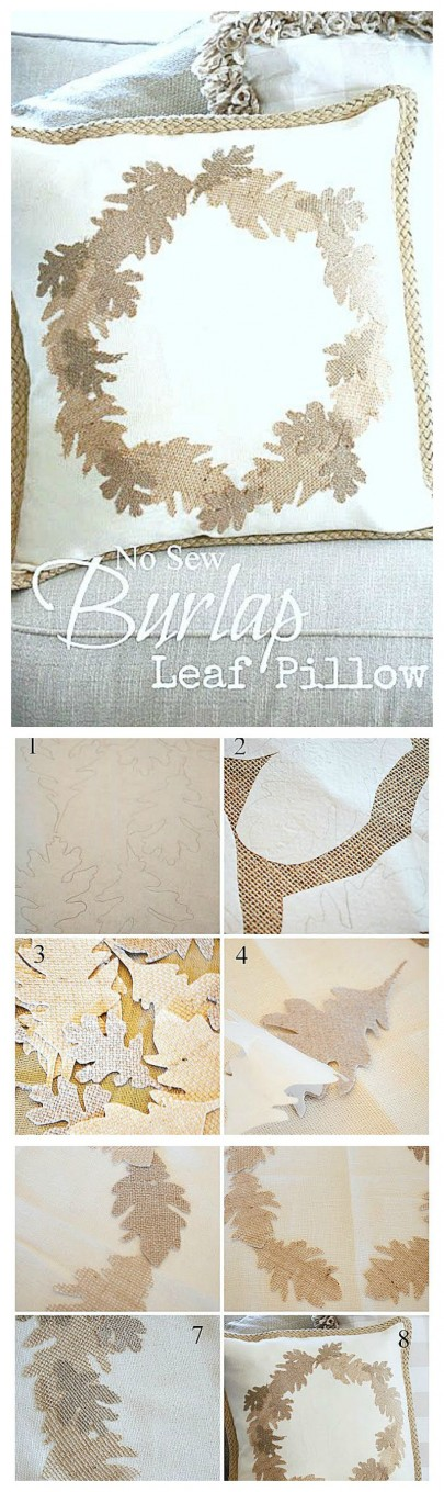 NO SEW BURLAP LEAF WREATH PILLOW- So easy to make and looks amazing for fall! -stonegableblog.com