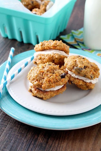 Oatmeal Raisin Breakfast Cookie Sandwiches are not only delicious, but packed full of nutrition too! Who wouldn't want cookies for breakfast? LoveGrowsWild.com