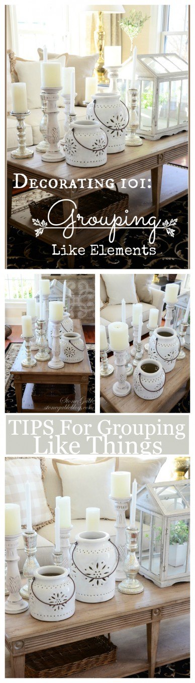 TIPS FOR GROUPING LIKE ELEMENTS- Make a bold decor statement-stonegableblog.com