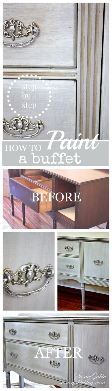 HOW TO PAINT AN OLD BUFFET- Step by step diy-stonegableblog.com