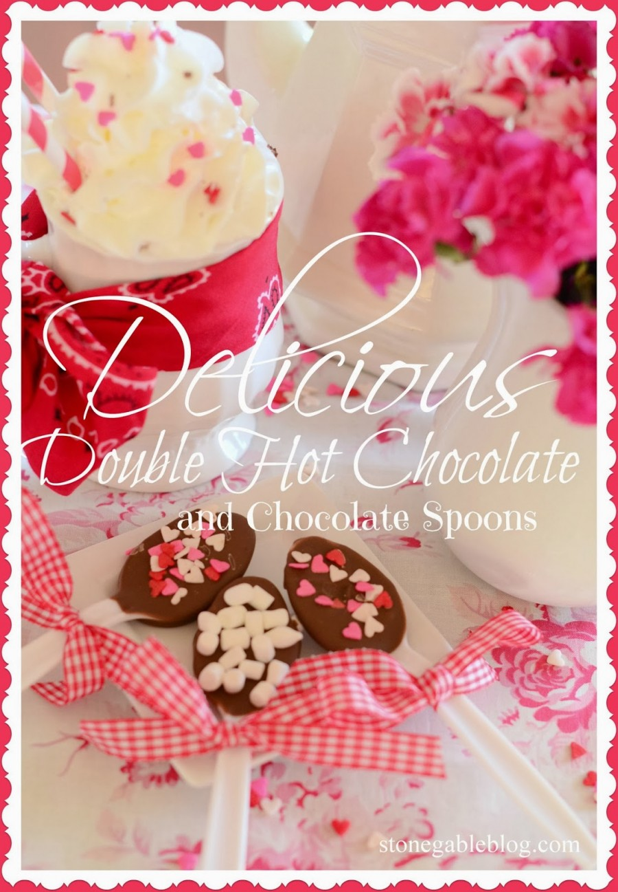 DELICIOUS DOUBLE HOT CHOCOLATE AND CHOCOLATE SPOONS