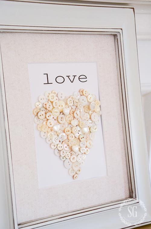 VALENTINE BUTTON HEART DIY-heart-in-frame-stonegableblog
