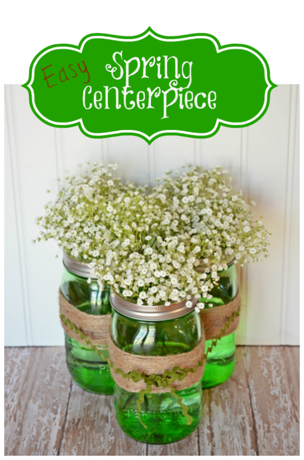Easy-Spring-Centerpiece-made-with-Green-Ball-Jars