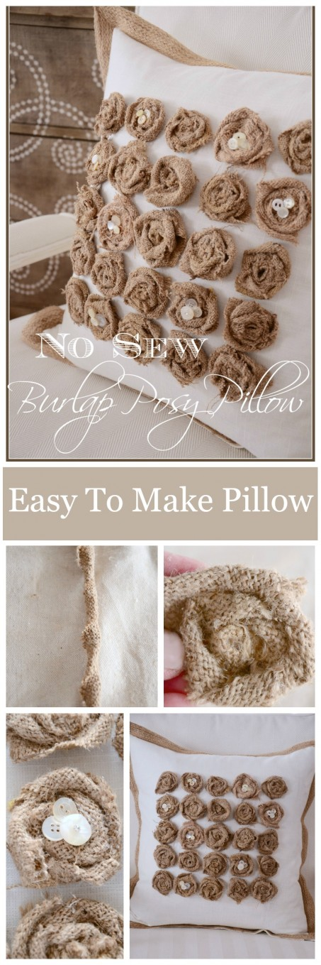 NO SEW BURLAP POSY PILLOW- so easy to make and perfect for your home-stonegableblog.com