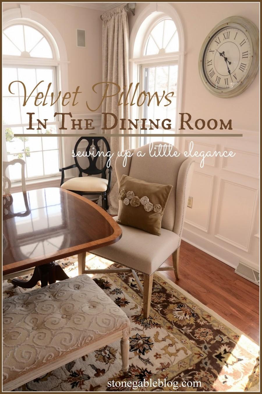VELVET PILLOWS IN THE DINING ROOM