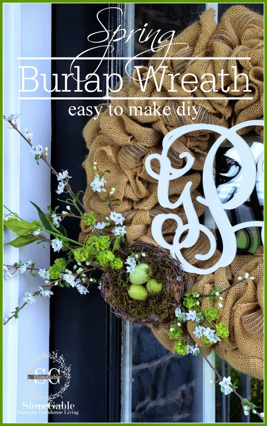 SPRING BURLAP WREATH DIY