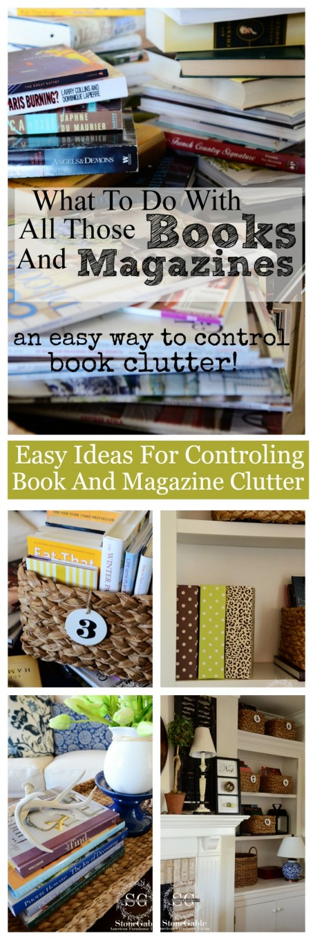 EASY AND CREATIVE WAYS TO CONTROL BOOK AND MAGAZINE CLUTTER- great ideas-stonegableblog.com
