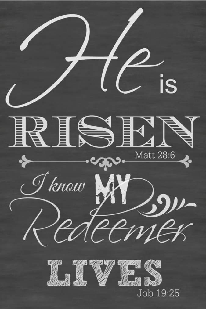HE IS RISEN- printable chalkboard art suitable for framing. Perfect for Easter-stonegableblog.com