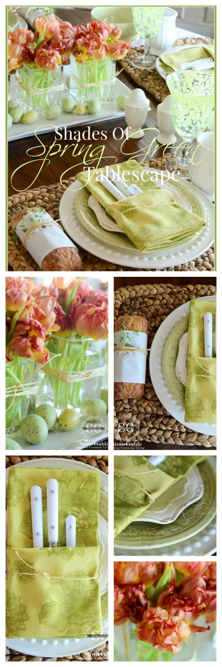 SHADES OF GREEN TABLESCAPE- easy to set and lots of creative ideas-stonegableblog.com