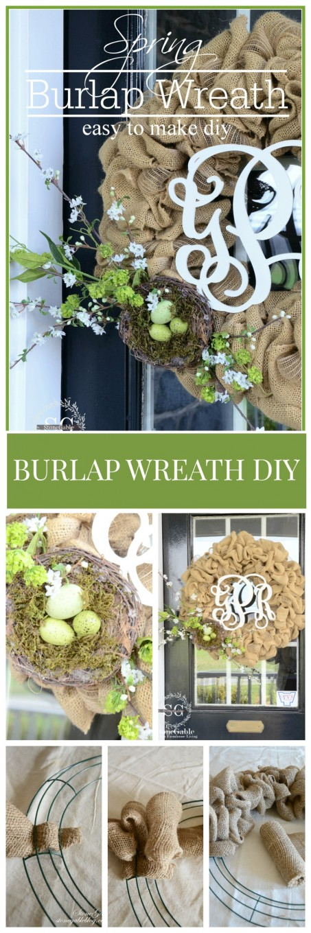 SPRING BURLAP WREATH DIY- easy to make and so pretty-stonegableblog.com