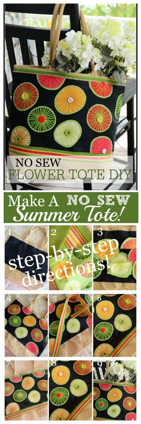 NO SEW FLOWER TOTE- Make a fabulous summer tote!-stonegableblog.com