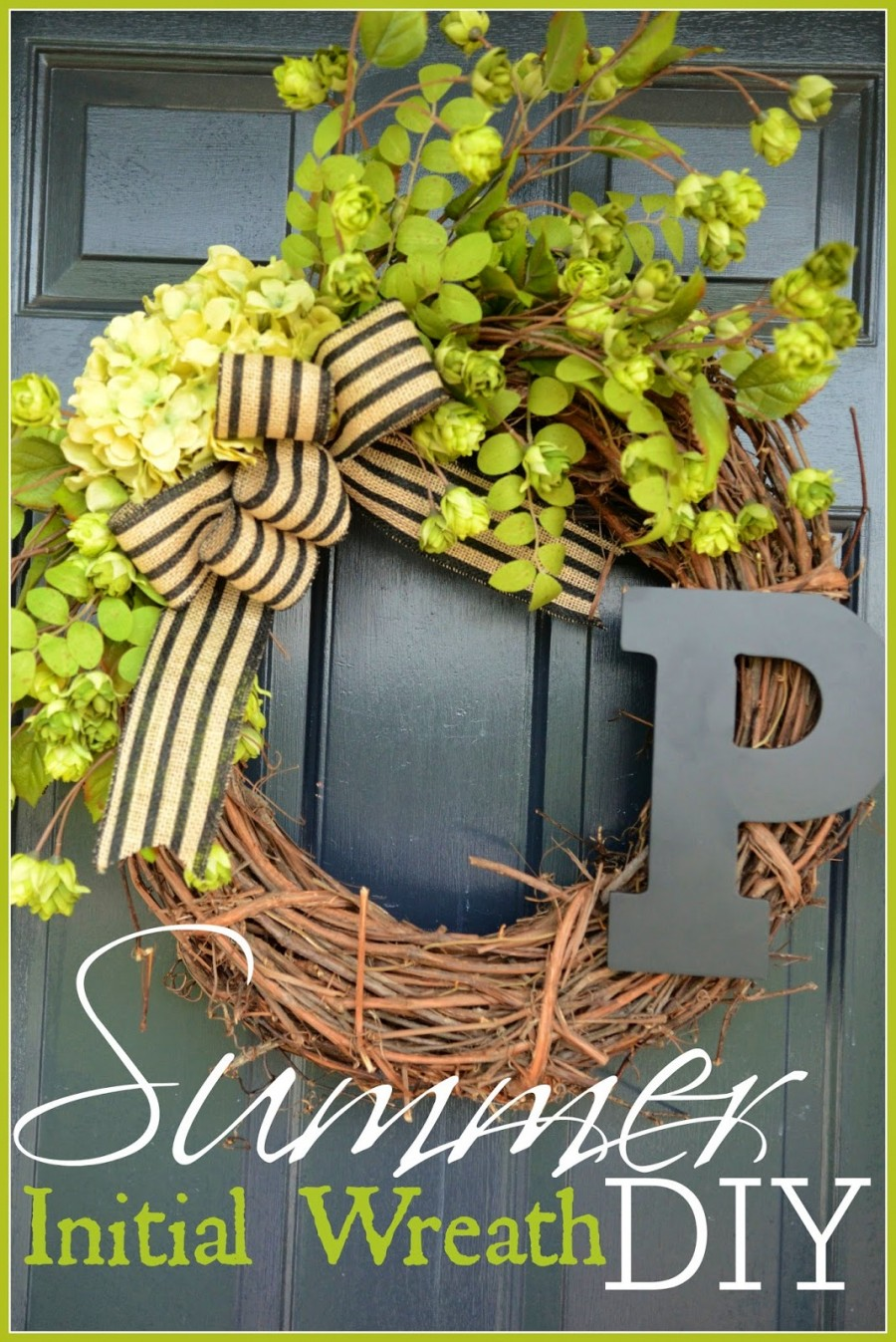 Summer Initial Wreath Diy Stonegable