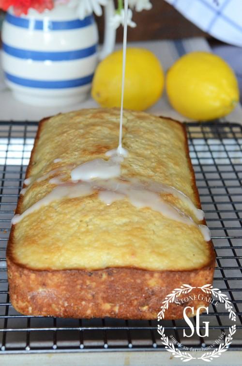 Glazed Lemon Zucchini Bread-adding glaze-stonegableblog.com