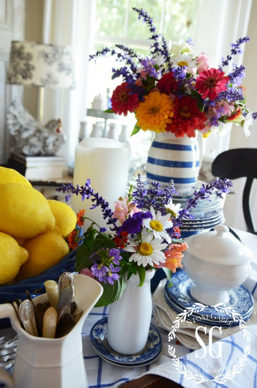 farmhouse vignette in blue and white