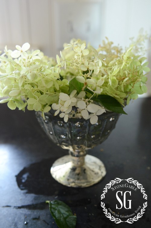 5 Minute Fall Decor- hydrangeas in footed bowl-stonegableblog.com