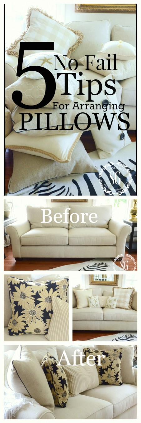 5 NO FAIL TIPS FOR ARRANGING PILLOWS- get it right and beautiful every time-stonegableblog.com