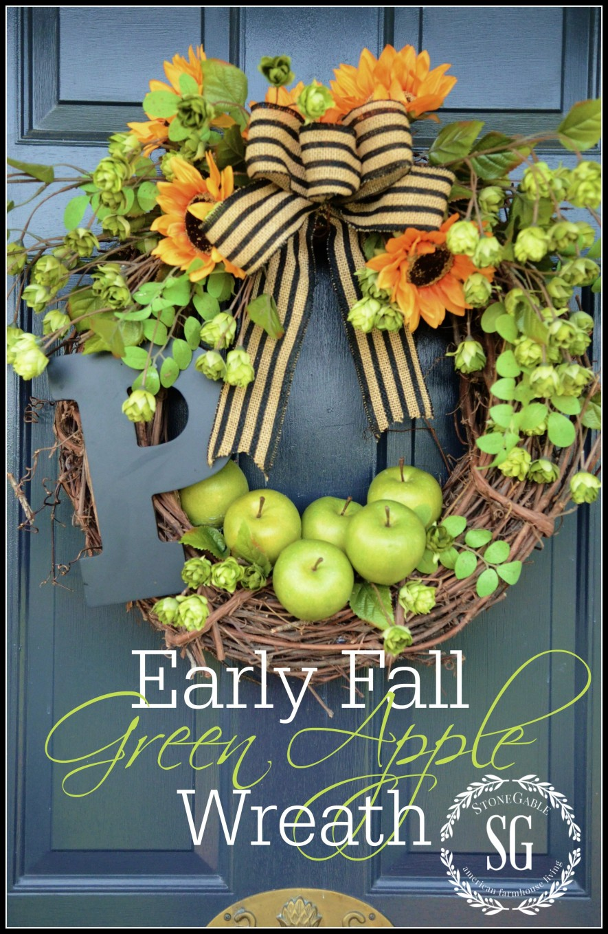 EARLY FALL GREEN APPLE INITIAL WREATH DIY