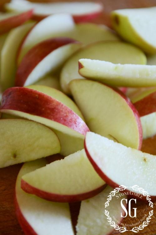 PUFF PASTRY APPLE ROSETTES-sliced apples from tree-stonegableblog.com