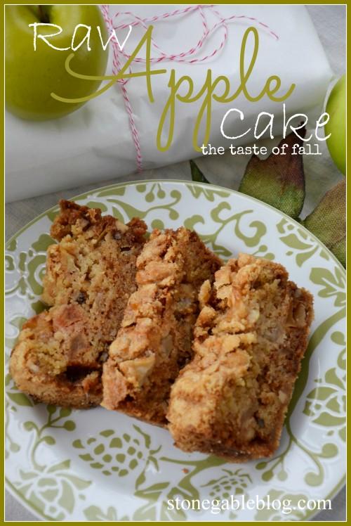 Raw Apple Cake Title Page stonegableblog
