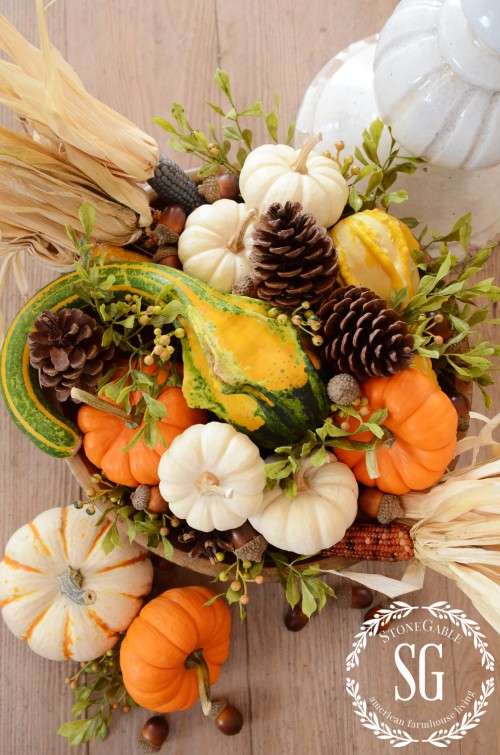 5 MINUTE FALL DECOR-fall arangement-wooden bowl-stonegableblog.com