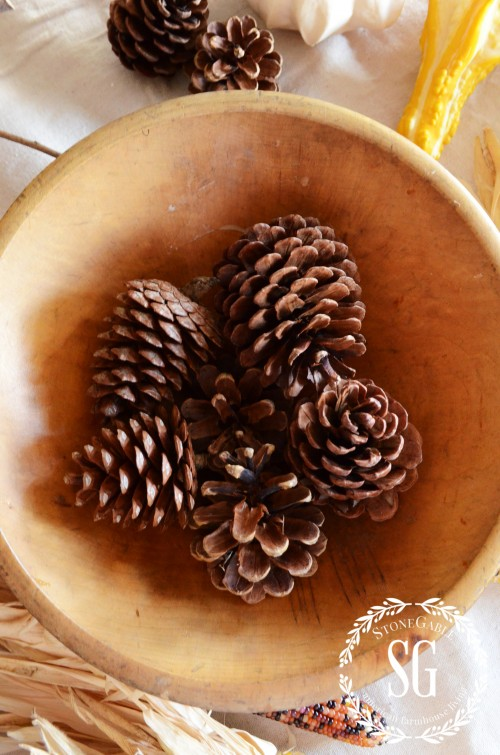 5 MINUTE FALL DECOR-pine cones in bottom-stonegableblog.com