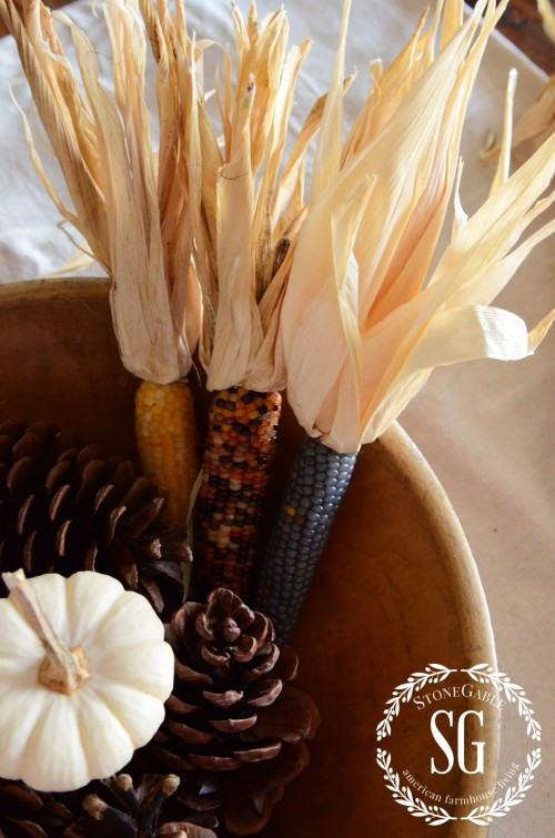 5 MINUTE FALL DECOR-pine cones with corn husks flared-stonegableblog.com