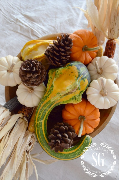 5 MINUTE FALL DECOR-pumpkin added to arrangement-stonegableblog.com