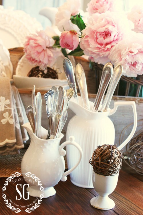 6 WAYS TO CREATE FARMHOUSE CHARM-silver in pitchers-stonegableblog.com