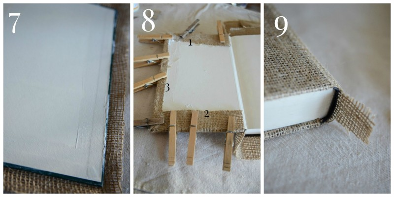 Burlap Covered Book-Collage 7,8,9-stonegableblog