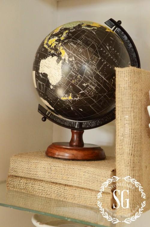 Burlap Covered Books-with globe-stonegableblog.com