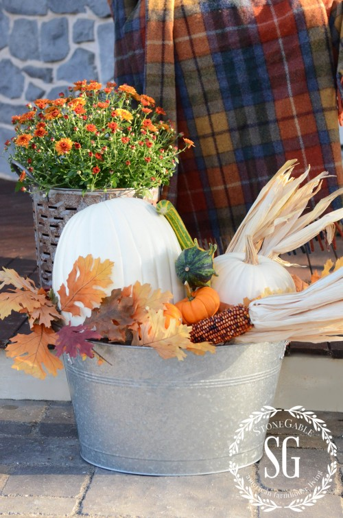FALL BACK PORCH- galvanized container with pumpkins-stonegableblog.com