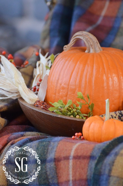 FALL BACK PORCH- pumpkin-indian corn-stonegableblog.com
