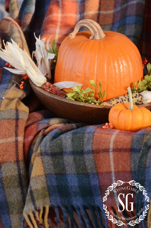 FALL BACK PORCH- pumpkin- wooden bowl-stonegableblog.com