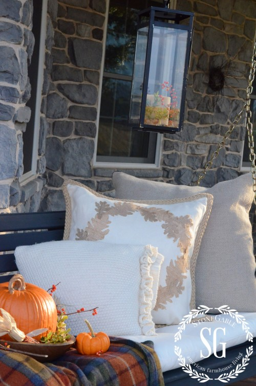 FALL BACK PORCH- swing- pillows-stonegableblog.com