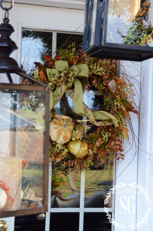 FALL BACK PORCH- wreath on door- pumpkins-stonegableblog.com