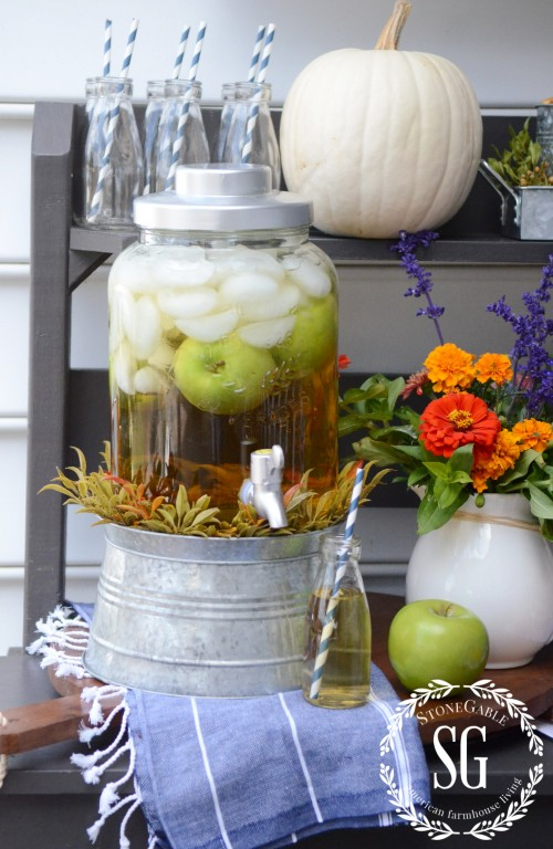 FALL DRINK STATION-drink container-stonegableblog.com